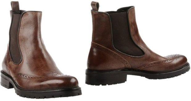 зимняя обувь мужская 2019-2020: ботинки-челси коричневые с резинкой в тон