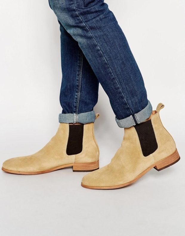 зимняя обувь мужская 2018-2019: ботинки-челси бежевые с коричневой резинкой