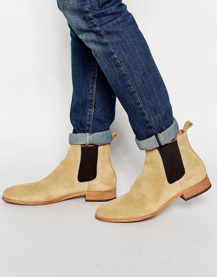 ботинки-челси бежевые с коричневой резинкой