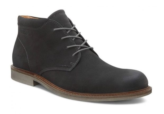 мужская обувь осень зима 2018-2019: нубуковые черные ботинки на шнурках