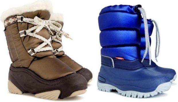 дутики коричневые со шнурками синие на толстой подошве