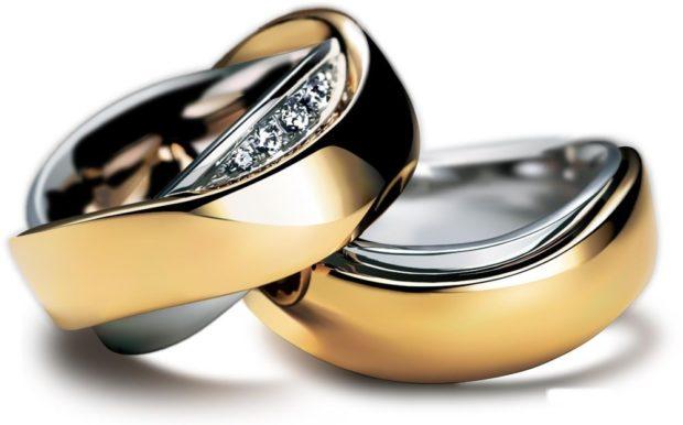 Обручальные кольца 2021: интересной формы женское с камушками мужское без