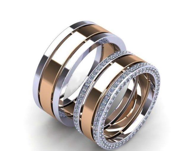 кольца обручальные с белого и желтого золота с огранкой из камней