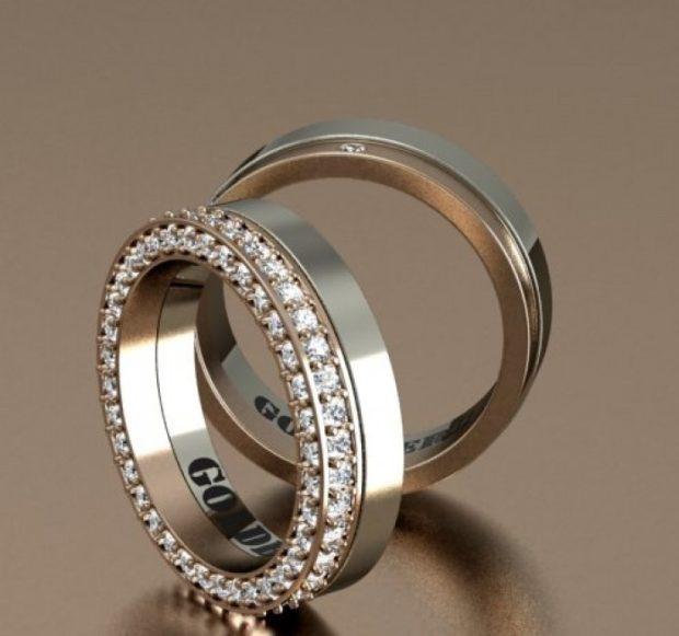 свадебные кольца с огранкой из камней