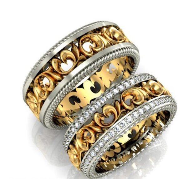 кольца обручальные из желтого золота с огранкой из белого золота