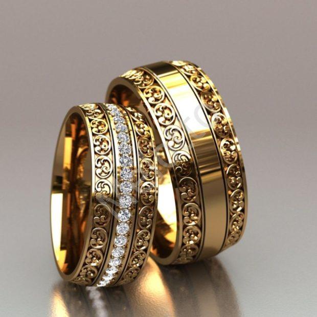 кольцо из желтого золота с огранкой ажурной
