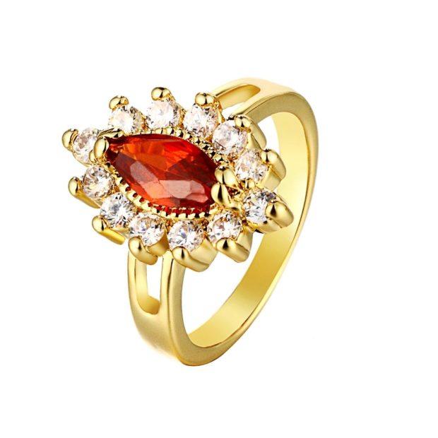 кольцо обручальное женское камень в виде цветка красный и белые