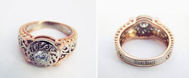 кольцо обручальное ажурное желтое золото с камнем
