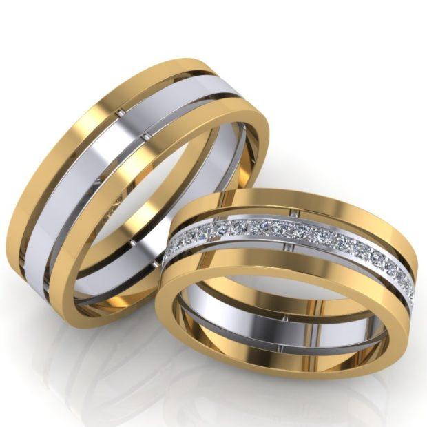 кольца белое и желтое золото с камешками