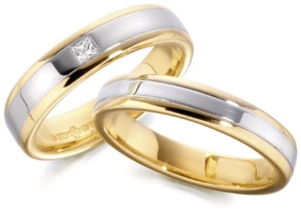 кольца с белым и желтым золотом