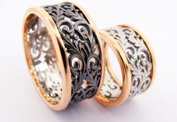 ажурные кольца из желтого белого золота