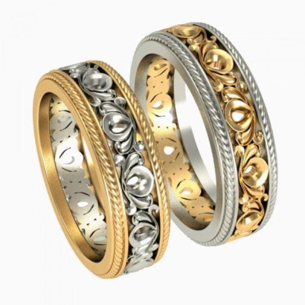кольца белое и желтое золото
