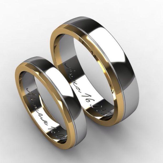 кольца из белого и желтого золота с гравировкой