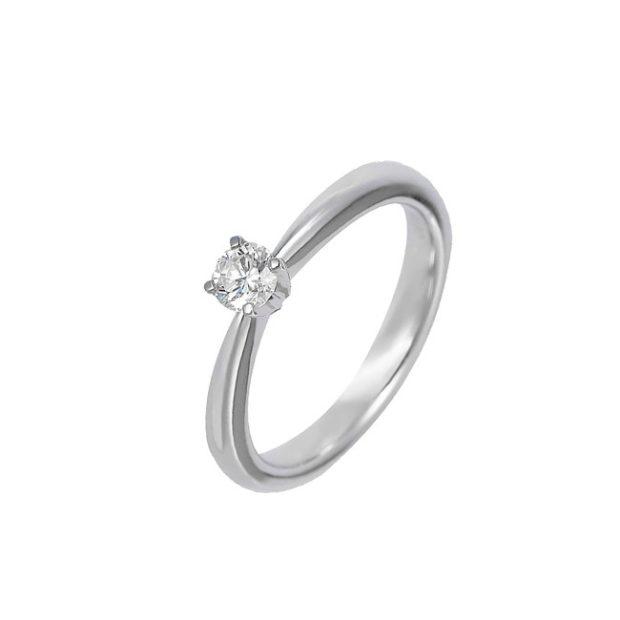 кольцо белое золото с камушком