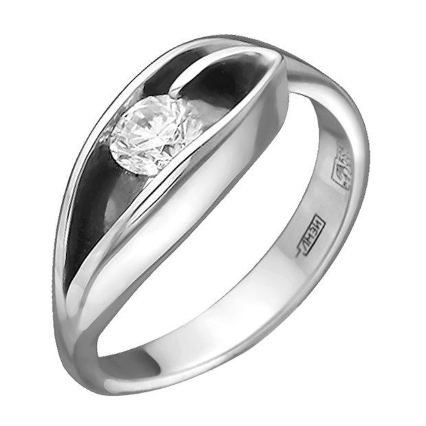 кольцо белое золото с камнем внутри