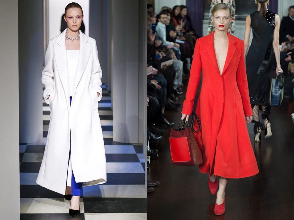 ярко белое и красное пальто макси