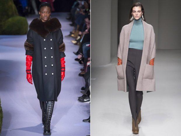 черное пальто с меховыми вставками и воротником