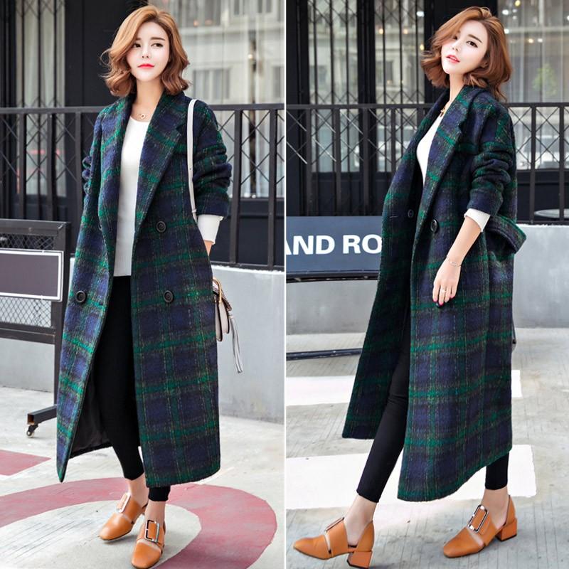 клетчатое пальто сиренево-зеленого цвета