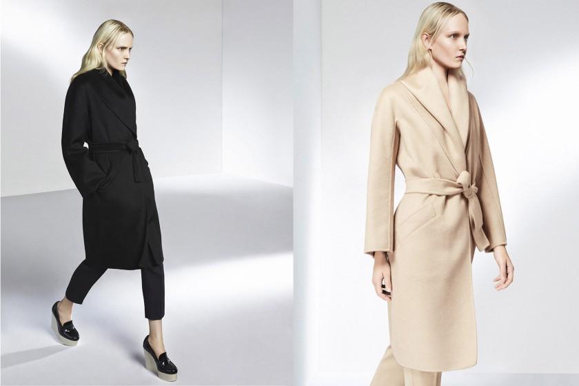 черное пальто с поясом бежевое с поясом