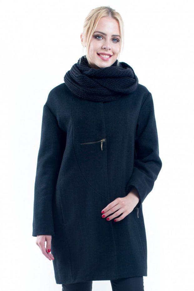 модные пальто осень зима 2019 2020: темное с палантином