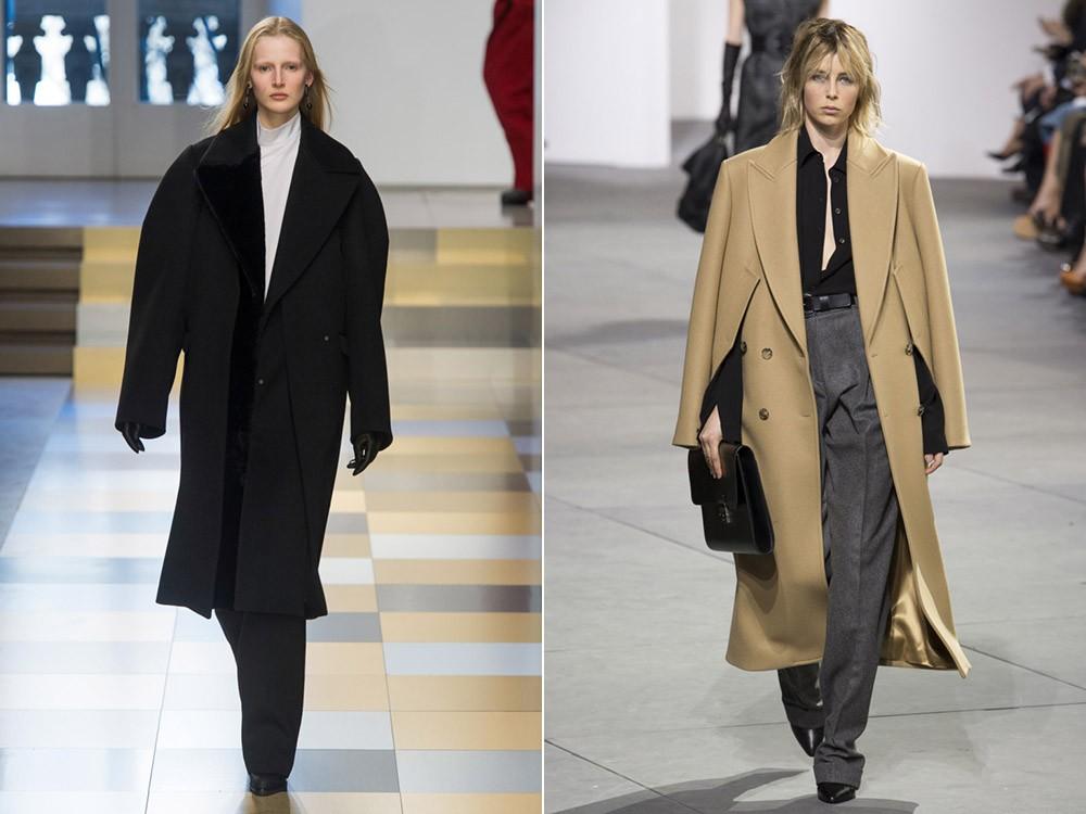 пальто черное и бежевое