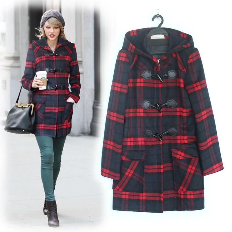 клетчатое пальто черное с красным