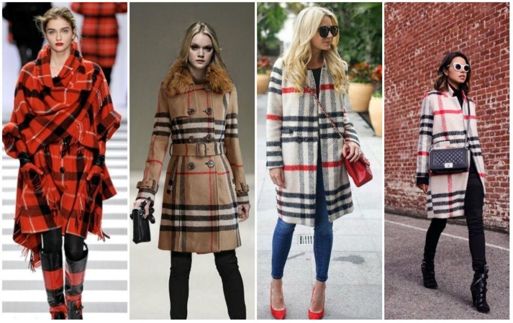 клетчатое пальто красное с черным, бежевое с белым, белое с красным