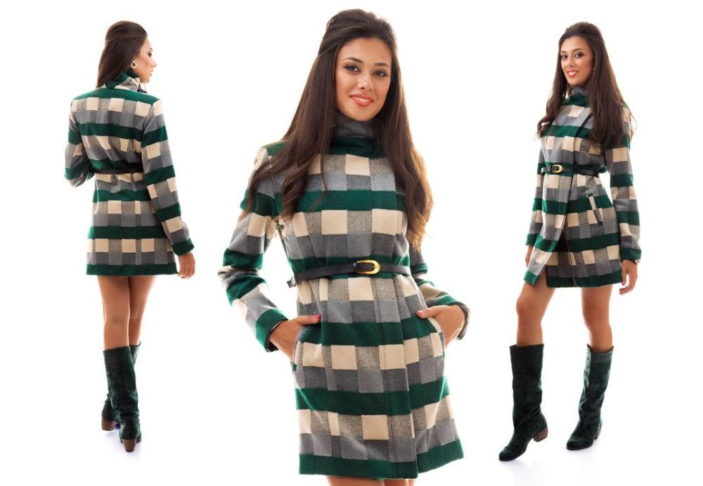 клетчатое пальто , зелено серое с бежевым