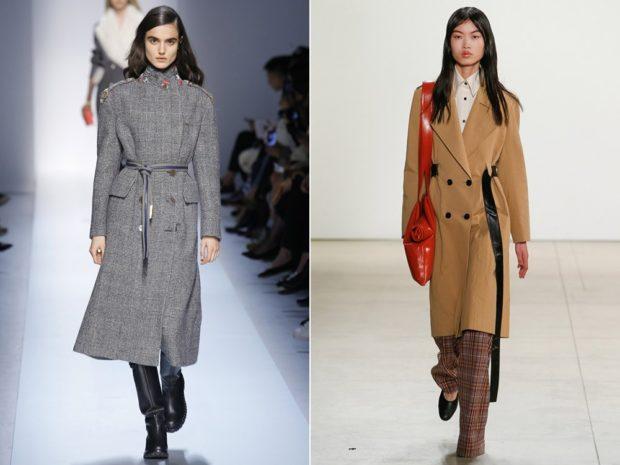 пальто осень-зима 2021-2022: серое с ремешком бежевое