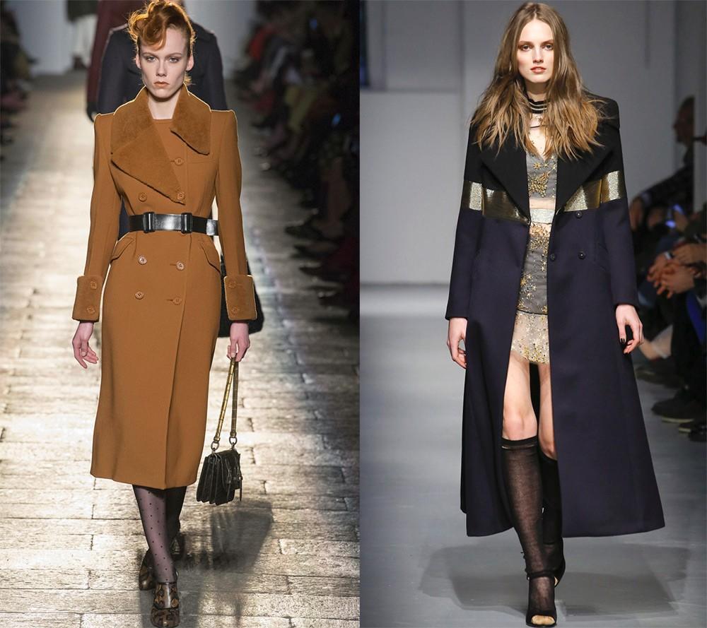 коричневое пальто с поясом и воротником