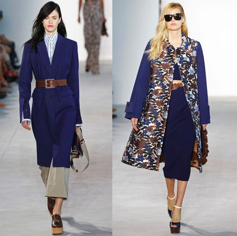синие пальто с коричневым поясом