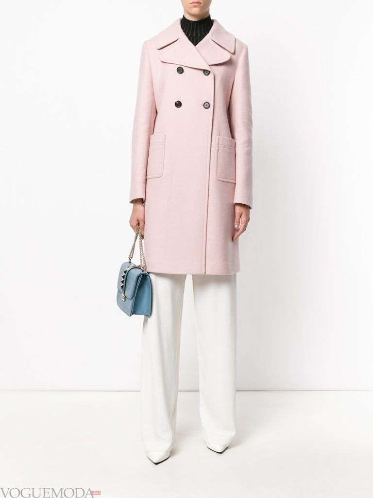 розовое пальто классическое с карманами