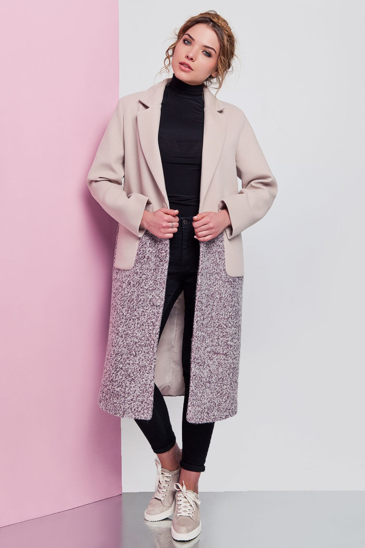 пальто белое с переходом на серым