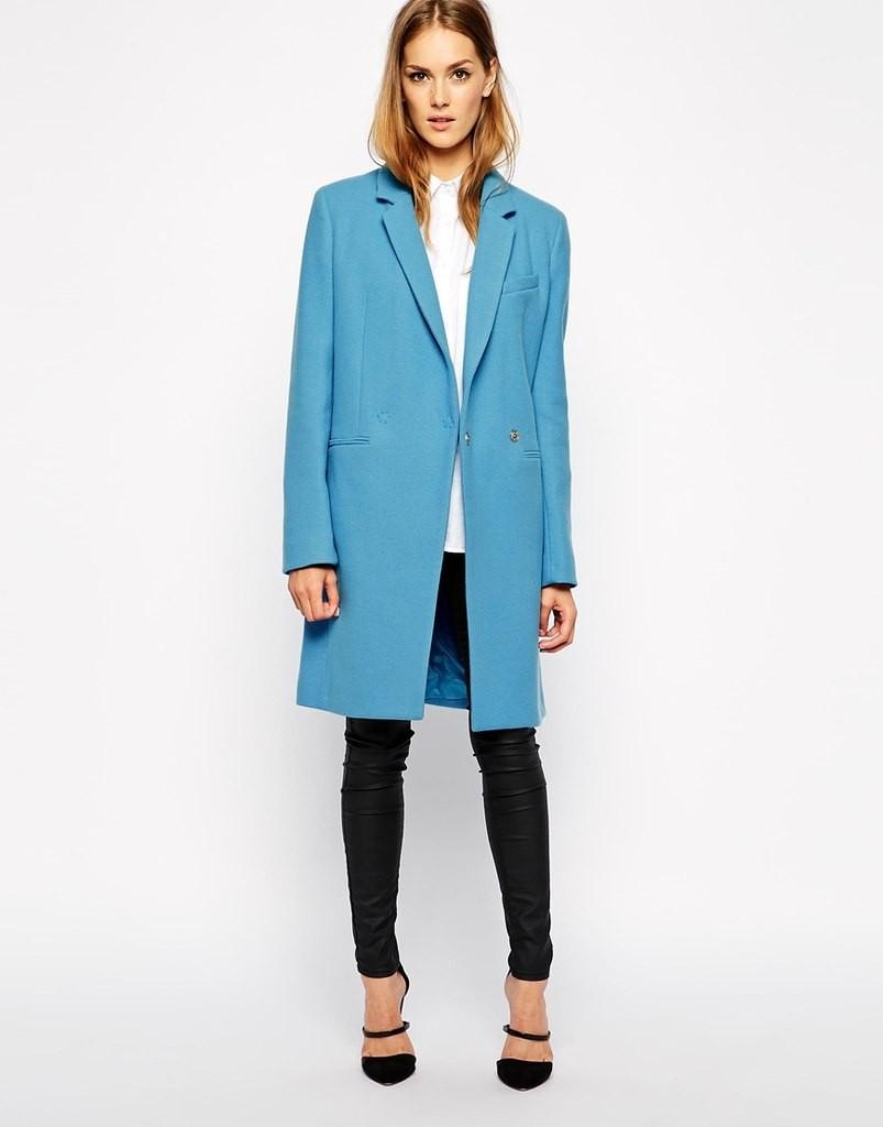 синие пальто с воротником