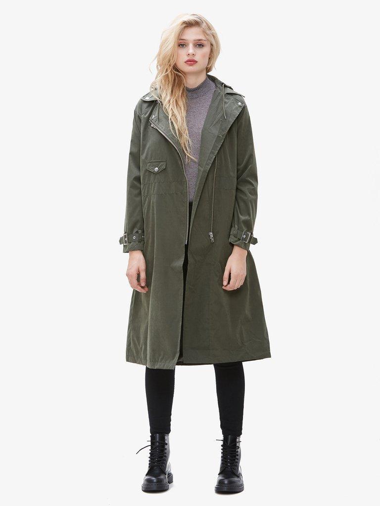 зеленое пальто свободное