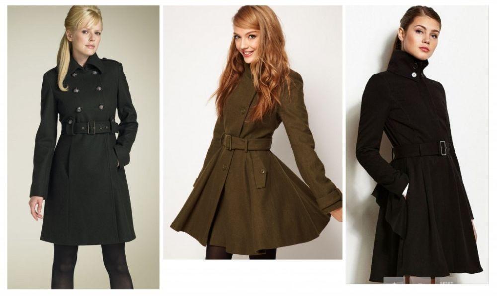 черное пальто с поясом