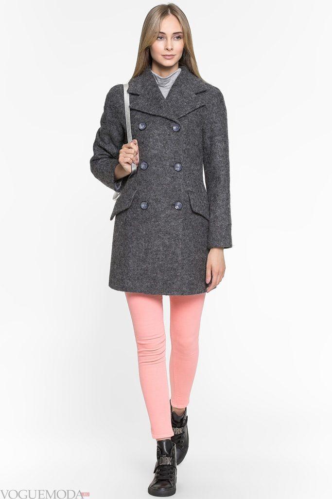 темно серое пальто с карманами