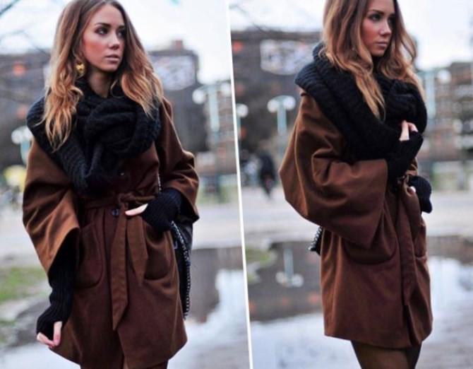 коричневое пальто с палантином