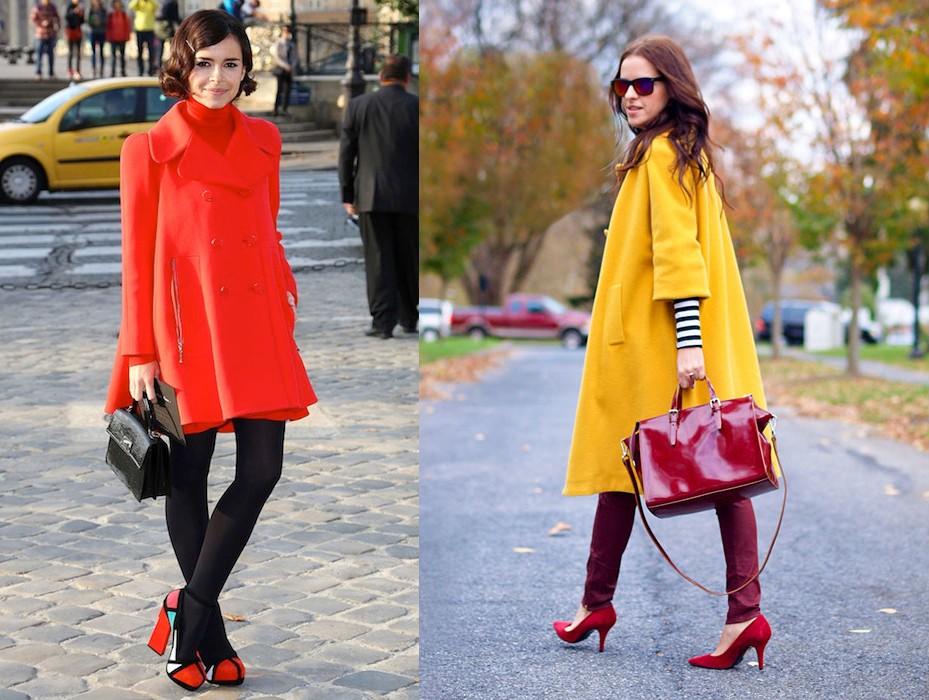 пальто кислотно оранжевого цвета и желтого