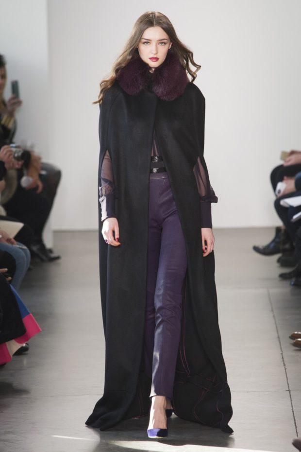 модные женские пальто осень 2021-2022: черное макси без рукавов