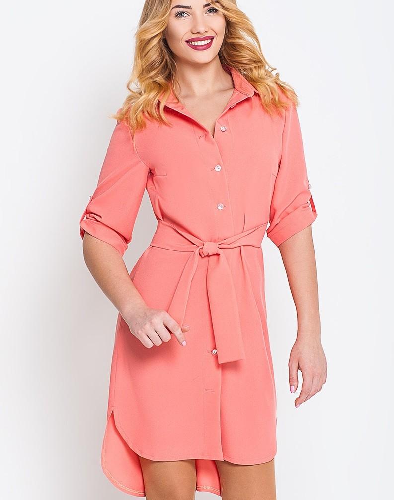 платье-рубашка розовое рукав 3/4 асимметрия