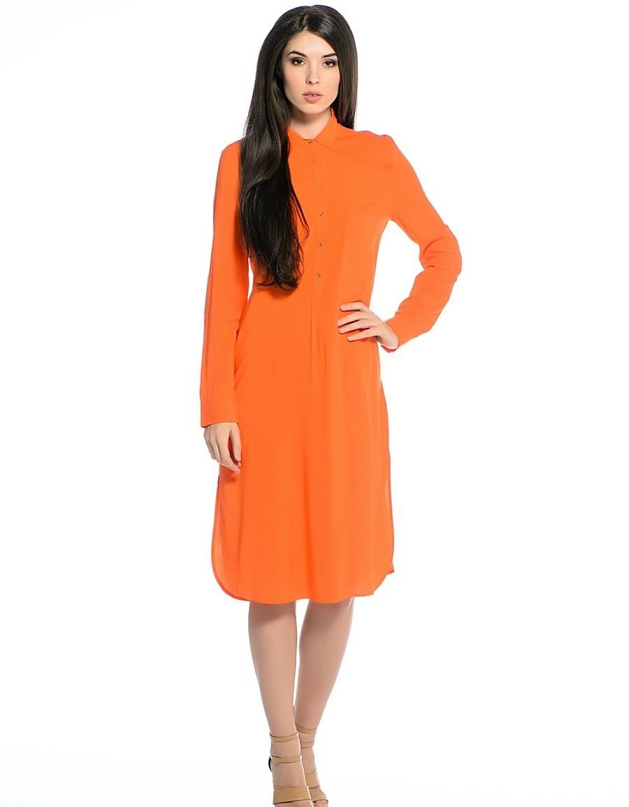 платье-рубашка оранжевое рукав длинный