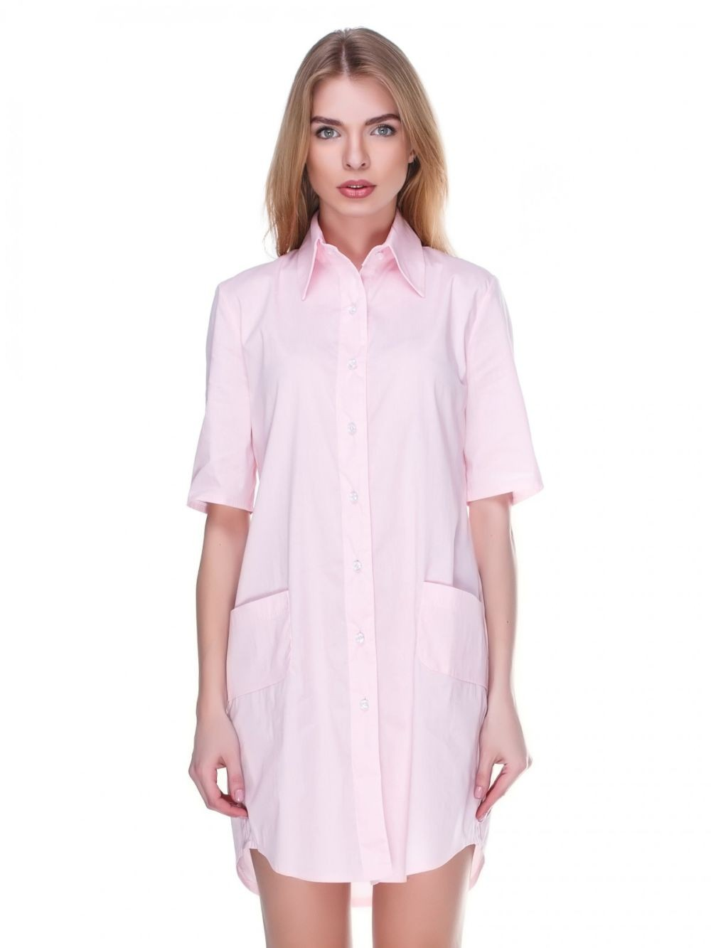 платье-рубашка розовое рукав короткий