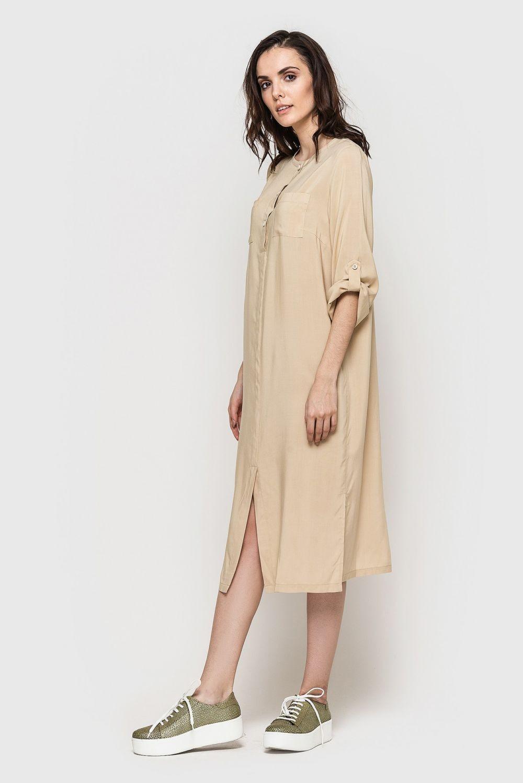 платье-рубашка коричневое миди