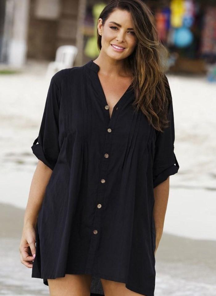 платье-рубашка черное рукав короткий шифон