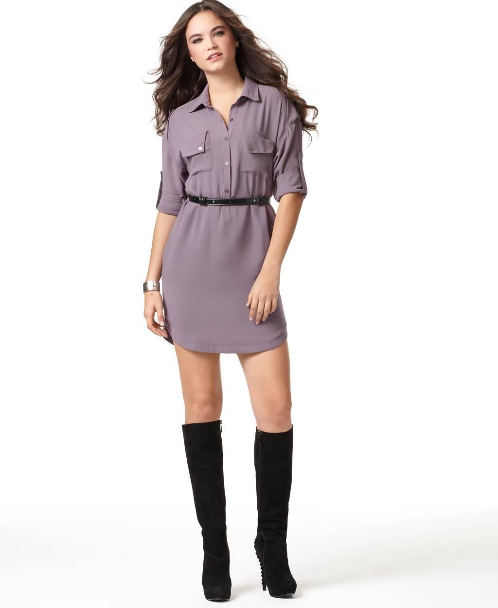 платье-рубашка под пояс из кожи