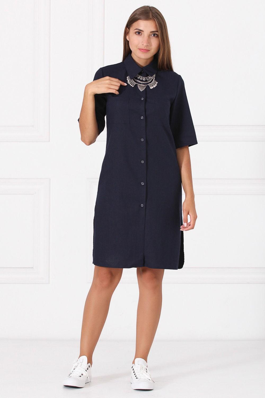 платье-рубашка темно-синяя с коротким рукавом