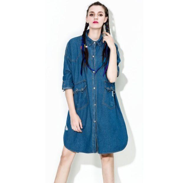 платье-рубашка балахон джинсовая