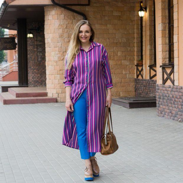платье-рубашка балахон макси яркое под короткие брюки