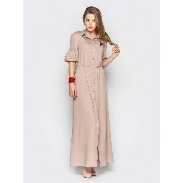 платье рубашка макси оборка на рукавах